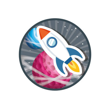 frame with rocket flying and planets of the solar system vector illustration design
