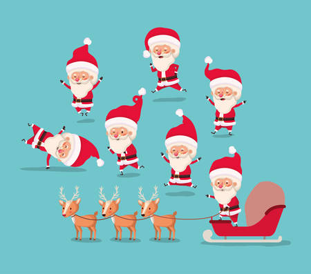 group of santa claus and reindeer vector illustration design Stockfoto - 124873751