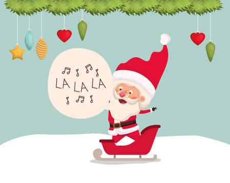 happy santa claus in carriage vector illustration design Stockfoto - 124873762