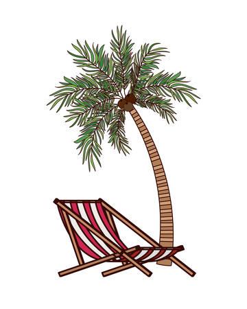 beach chair for sunbathing on white background vector illustration design