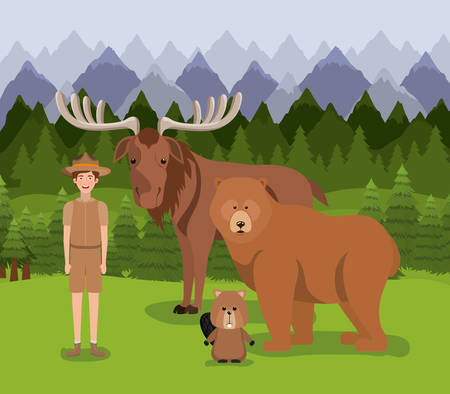 Moose bear beaver and ranger design, forest canada life nature and fauna theme Vector illustration Vektorové ilustrace