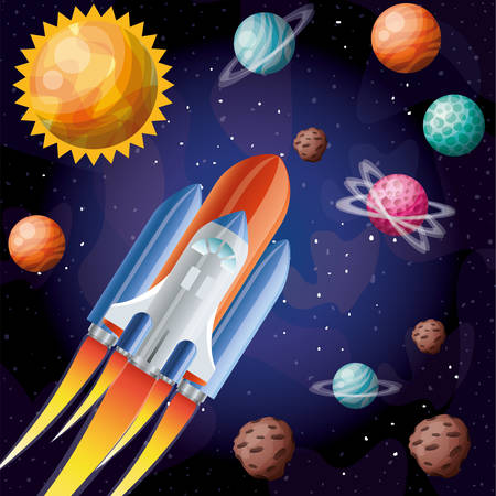 Rocket and planets design, Spaceship aircraft start up shuttle technology and travel theme Vector illustration