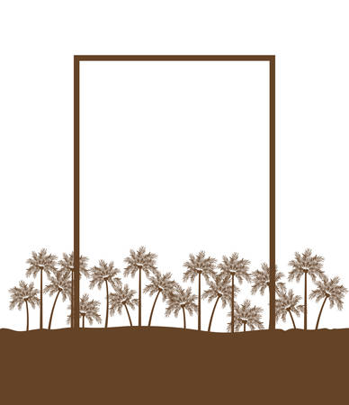 palm tree with coconut in white background vector illustration design 矢量图像
