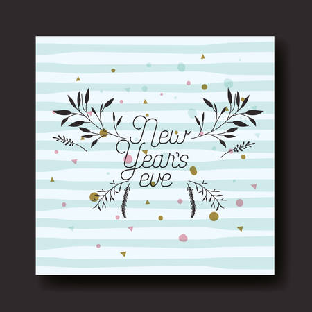 happy new year calligraphy card with leafs crown vector illustration design Иллюстрация