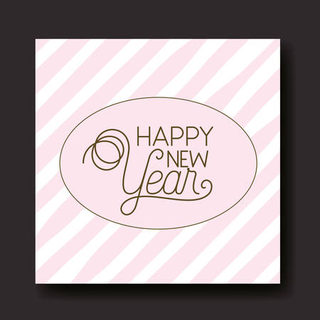 happy new year calligraphy circular frame with stripes vector illustration design Иллюстрация