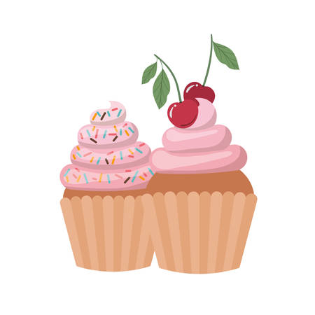 delicious cupcakes with cream on white background vector illustration design Ilustração