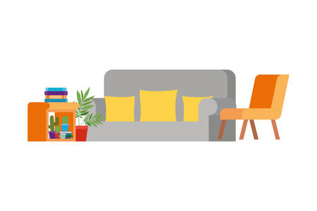 living room with couch and stack of books vector illustration design Imagens - 124891735