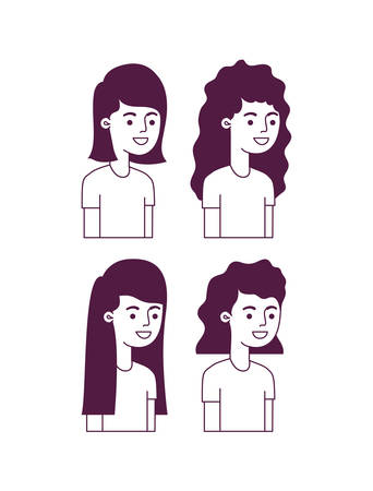 group of girls characters vector illustration design