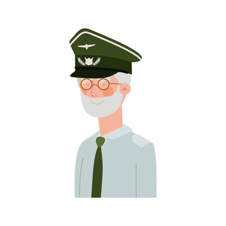 veteran pilot avatar character vector illustration design Ilustrace