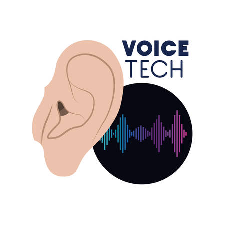 voice tech label with ear and sound wave vector illustration design