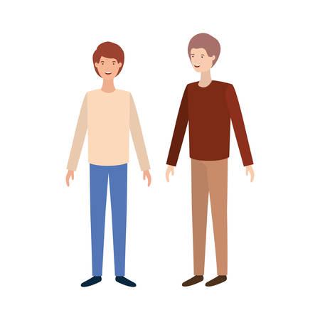 young men standing avatar character vector illustration design