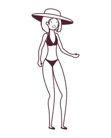 silhouette of woman with swimsuit on white background vector illustration design Reklamní fotografie - 124906719