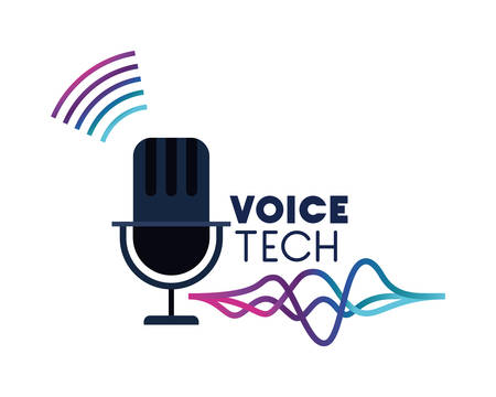 voice tech label with microphone and sound wave vector illustration design Ilustrace