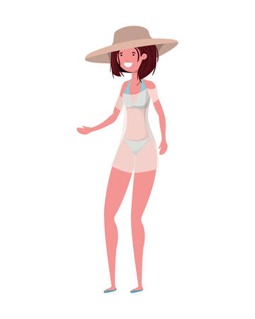 young woman with swimsuit on white background vector illustration design Reklamní fotografie - 124906728