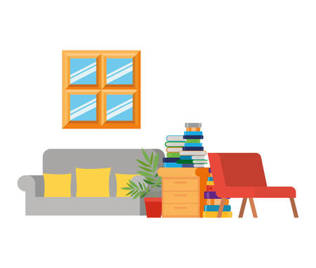 living room with couch and stack of books vector illustration design Reklamní fotografie - 124906698