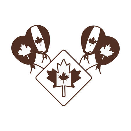 Maple leaf balloon and canada design, Culture national country travel and tourism theme Vector illustration 일러스트