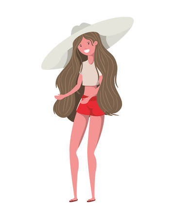 young woman with swimsuit on white background vector illustration design Reklamní fotografie - 124906696
