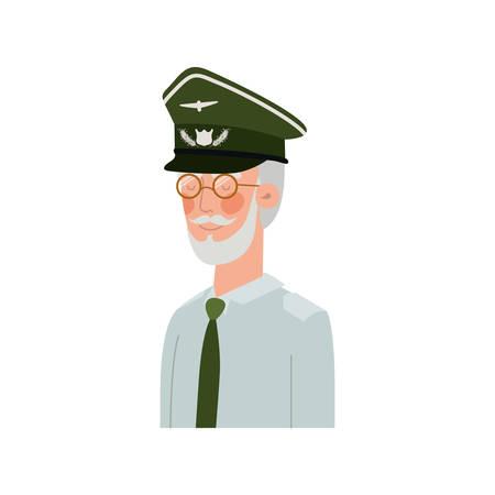 veteran pilot avatar character vector illustration design Ilustração