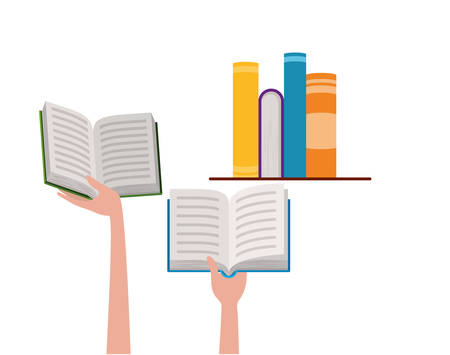 Books and hands design, Education literature read library school university and learning theme Vector illustration Stock Illustratie