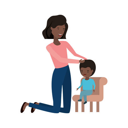 woman with baby sitting on chair avatar character vector illustration design 向量圖像