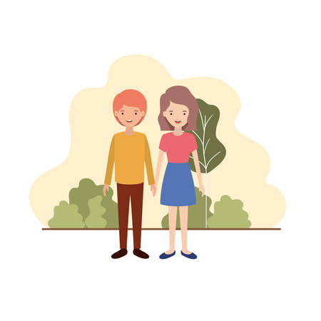 young couple with landscape avatar character vector illustration design