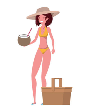 woman with swimsuit and coconut water in hand vector illustration design