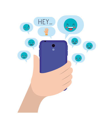 hand chatting with smartphone sending emojis vector illustration design Banque d'images - 124907812