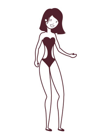 silhouette of woman with swimsuit on white background vector illustration design