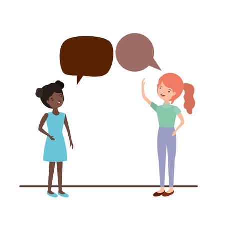 women with speech bubble avatar character vector illustration design 向量圖像