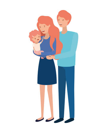 couple of parents with daughter avatar charactar vector illustration design Stock Vector - 124907651