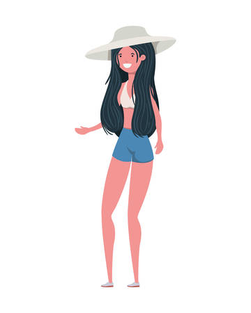 young woman with swimsuit on white background vector illustration design Reklamní fotografie - 124907839