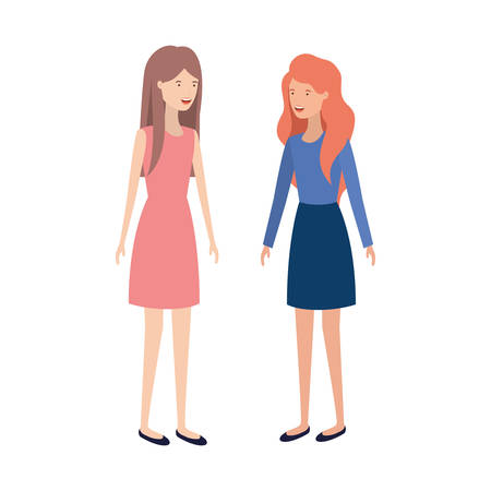 young women standing avatar character vector illustration design