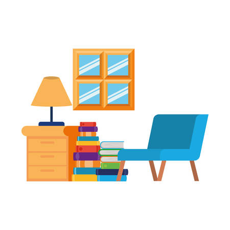living room with couch and stack of books vector illustration design Reklamní fotografie - 124907671