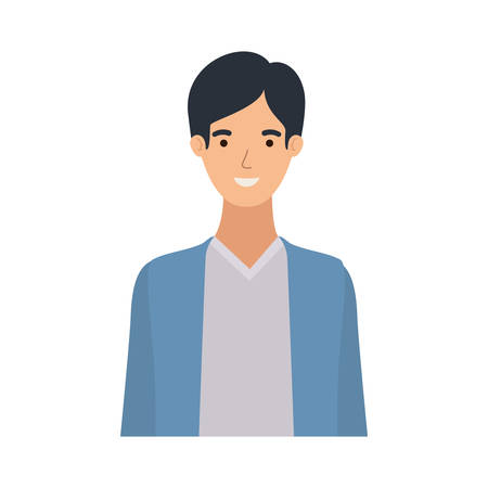 young man in white background avatar character vector illustration design 向量圖像