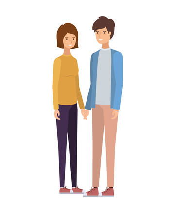 young couple in white background avatar character vector illustration design Foto de archivo - 124908017