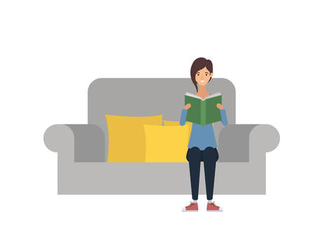 woman sitting on chair with book in hands vector illustration design