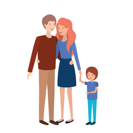 parents couple with son avatar vector illustration design