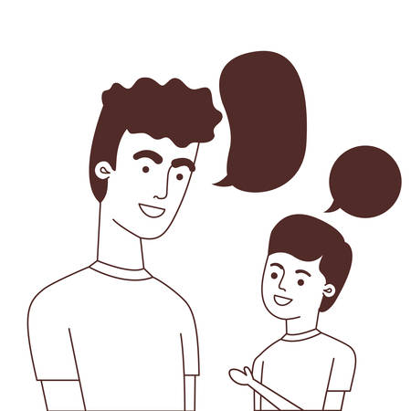 father with son and speech bubble character vector illustration design