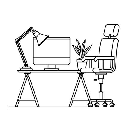 silhouette of office desk with chair icon vector illustration design