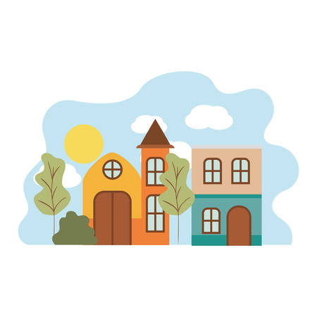 neighborhood houses in landscape isolated icon vector illustration design 矢量图像