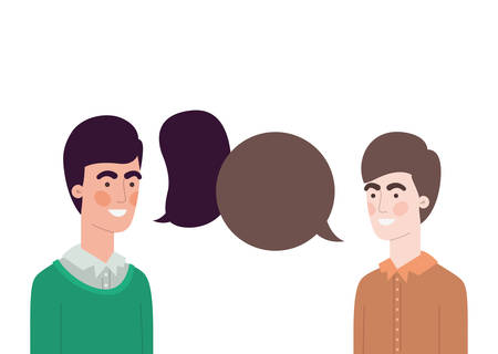 men with speech bubble avatar character vector illustration design Ilustrace
