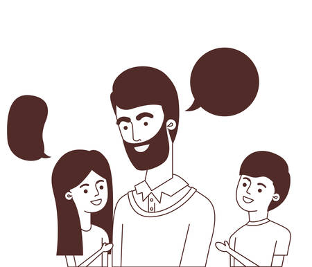father with children and speech bubble character vector illustration design Ilustracja