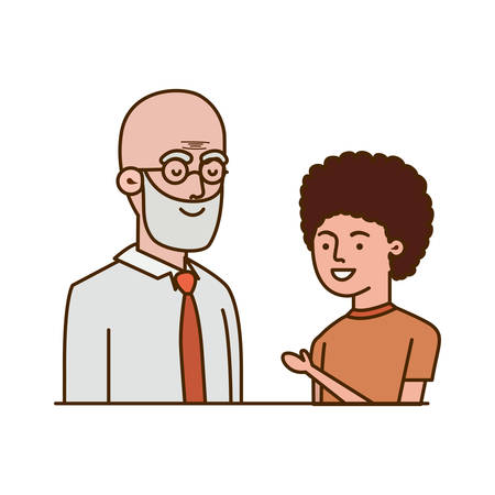 boy and grandfather avatar character vector illustration design