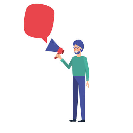 young man with megaphone in the hand vector illustration design