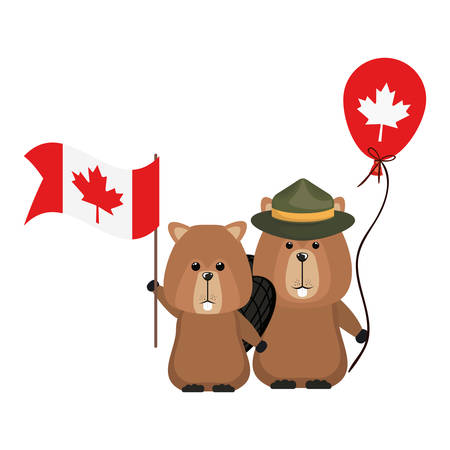 Beaver animal design, forest canada life nature and fauna theme Vector illustration