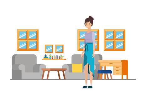 woman standing in the work office with white background vector illustration design Ilustração