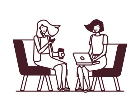 young women sitting in chair with white background vector illustration design Çizim