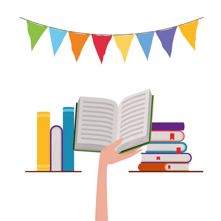 Books hand and banner pennant design, Education literature read library school university and learning theme Vector illustration