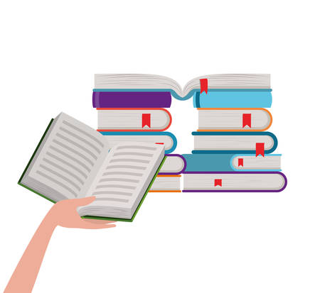 Books and hand design, Education literature read library school university and learning theme Vector illustration
