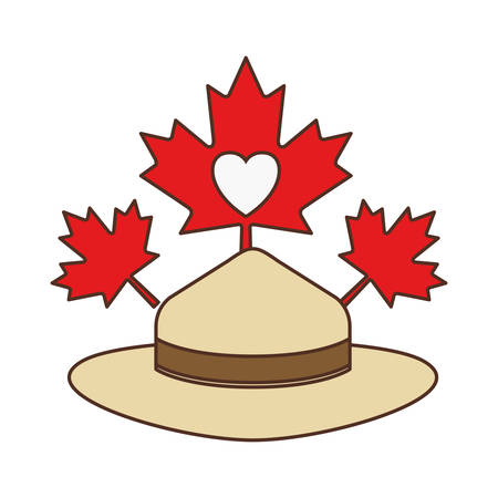 Maple leaf hat and canada design, Culture national country travel and tourism theme Vector illustration Foto de archivo - 124975077